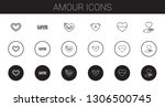 amour icons set. collection of...