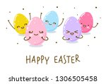 easter greeting card with cute... | Shutterstock .eps vector #1306505458