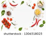 colorful pizza ingredients.... | Shutterstock . vector #1306518025