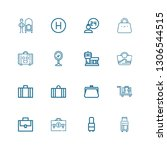 editable 16 suitcase icons for... | Shutterstock .eps vector #1306544515
