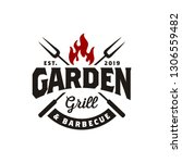 vintage grill barbeque barbecue ...   Shutterstock .eps vector #1306559482