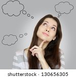 thinking woman with many ideas... | Shutterstock . vector #130656305