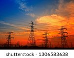 electric tower  silhouette at... | Shutterstock . vector #1306583638