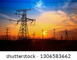 electric tower  silhouette at... | Shutterstock . vector #1306583662