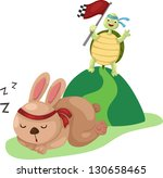 Stock photo  illustration of turtle and rabbit running a race eps vector version id format also 130658465