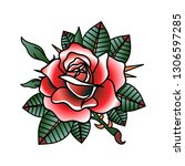 flower tattoo vector image. | Shutterstock .eps vector #1306597285