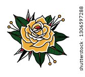 flower tattoo vector image. | Shutterstock .eps vector #1306597288
