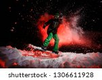 girl on the snowboard dressed...   Shutterstock . vector #1306611928