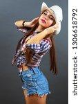 young beautiful sexy girl in...   Shutterstock . vector #1306618792