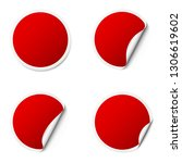 set of red round adhesive... | Shutterstock .eps vector #1306619602