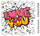 love you word bubble. message... | Shutterstock .eps vector #1306624468