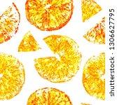 tropical fruits orange  kiwi ... | Shutterstock . vector #1306627795