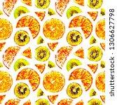tropical fruits orange  kiwi ... | Shutterstock . vector #1306627798