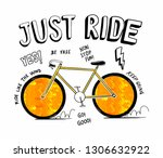 just ride slogan graphic  with... | Shutterstock .eps vector #1306632922