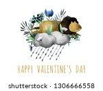 beautiful watercolor bouquet... | Shutterstock . vector #1306666558