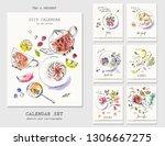 half year calendar with ink...   Shutterstock .eps vector #1306667275