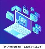 data protection. open laptop... | Shutterstock .eps vector #1306691695