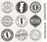 portugal set of stamps. travel... | Shutterstock .eps vector #1306702495