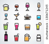 drink icons set color   Shutterstock .eps vector #130671245