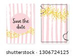 gold glitter cards with dots... | Shutterstock .eps vector #1306724125