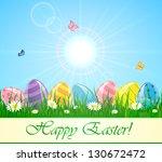 easter eggs in the grass... | Shutterstock . vector #130672472
