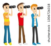 young people looking through... | Shutterstock .eps vector #1306726318