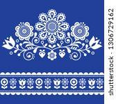 scandinavian vector folk art... | Shutterstock .eps vector #1306729162