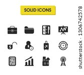 trade icons set with graph...