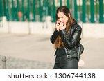 sad teen girl millennial woman... | Shutterstock . vector #1306744138