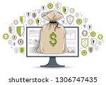 money bag over computer monitor ... | Shutterstock .eps vector #1306747435