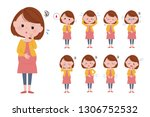 illustration of various facial... | Shutterstock .eps vector #1306752532