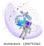 astronaut flying in open space... | Shutterstock .eps vector #1306752562