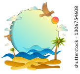 beach with palms  sea waves... | Shutterstock .eps vector #1306754608