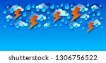 thunderstorm with lightning and ... | Shutterstock .eps vector #1306756522