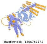astronaut flying in open space... | Shutterstock .eps vector #1306761172