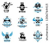 set of vector gym and fitness... | Shutterstock .eps vector #1306764415