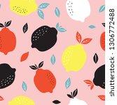pattern background with lemons. ... | Shutterstock .eps vector #1306772488