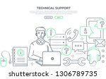 technical support   modern line ... | Shutterstock .eps vector #1306789735