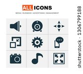 multimedia icons set with... | Shutterstock . vector #1306799188