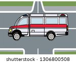 puzzle ambulance on the... | Shutterstock .eps vector #1306800508
