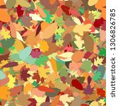 colorful heap of autumn leaves... | Shutterstock . vector #1306826785