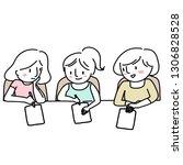 girls doing homework together.... | Shutterstock .eps vector #1306828528
