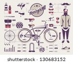 hipster vs bike info graphic elements - stock vector