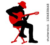 silhouette musician plays the... | Shutterstock .eps vector #1306838668