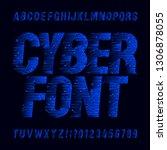 cyber font. circuit board... | Shutterstock .eps vector #1306878055
