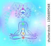 girl in the lotus position and... | Shutterstock .eps vector #1306889068