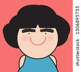 closeup portrait funny smiling... | Shutterstock .eps vector #1306895755