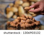 peanut in a shell texture. food ... | Shutterstock . vector #1306903132