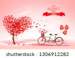 valentine's day background with ... | Shutterstock .eps vector #1306912282