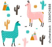 llama seamless pattern with... | Shutterstock .eps vector #1306924888